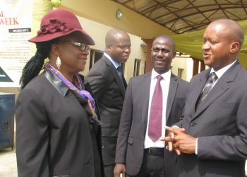 caption: Representative of Acting Chief Judge of Nigeria, Hon. Justice Walter Samuel Nkanu Onnoghen, Hon. Justice Monica Dongban Mensah (left) discussing with Chairman, Nigeria Bar Association, Ibadan Branch, Bar. Akeem Agbaje (right)
