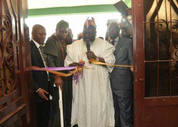 Rector the Oke Ogun polythecnic, Baagi of Saki, Barrister Adebayo shitu cutting the tape and Rep of  Gov Ajimobi, Professor joseph Olowofela comm for education
