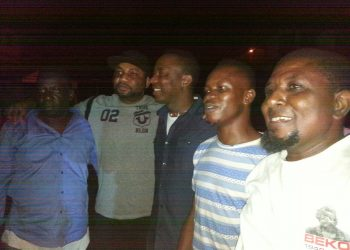 Sowore and friends after his release from detention. Photo credit Sahara reporter