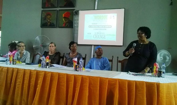 Hanna Schlingmann, German Academic Exchange Service Representative , Chairperson of the event Professor Janice Olawoye, WORDOC, Director Dr. Sharon Omotosho representatives of CBAAC, and Professor  Precious Garba, at the WORDOC  event held at institute of African Studies Ibadan