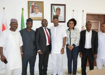 NTDC DG, Mr. Folorunsho Coker (middle), National President of the National Association of Nigeria Travel Agencies (NANTA), Mr. Bankole Bernand, 1st Deputy President of NANTA, Mrs. Susan Akporiaye and others in a group photograph during a courtesy call on the DG NTDC at the Tourism Headquarters in Abuja recently