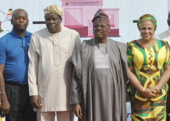 L-R: Sales Manager, Spectranet Everest Technologies Limited, Mr. Akinwumi Ariyo; Oyo State Deputy Governor, Chief Moses Adeyemo; the Governor, Senator Abiola Ajimobi; and his wife, Florence, during the inauguration of the state's e-governance initiative, at the Governor's Office, Ibadan on Monday. photo credit. www.parrotng.com