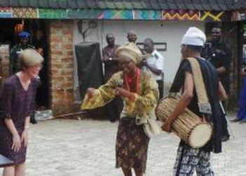 Foreign delegates dancing to the tune of the Talking Drum. PHOTO: NAN