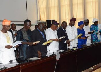 The former commissioner (  1st onleft) while  taking of  oath of office on 17th June  2016