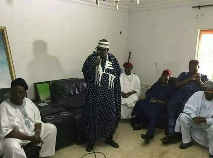 Senator Ahmed Makarfi adressing Senator Ladoja and other people during the visit to his house in Ibadan.