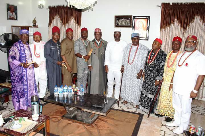 Aare Dr Gani Adams and some of the Igbo leaders who visited him in Omole