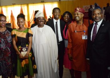 Governor Abiola Ajimobi of Oyo State (third left) with the best 2017 WASSCE female best student, Miss Irabor Isabele Gelegu (second left), her mum, Mrs Elizabeth Irabor (left), the best 2017 male student, Master Oluwatoni Adekunle (middle) his father and mother, Professor and Mrs Segun Adekunle and a senior pastor at Oritamefa Baptist Church, Rev. Dr Remi Awopegba at the launch of Oyo Education Trust Fund where the two students were honoured by the Oyo State Government.