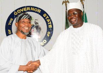 Osun state governor Ogbeni Rauf Aregbesola and Aare Gani Adams , the Aare Ona Kakanfo of Yorubaland during a visit to the governor in his office