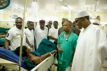 President Buhari  visit son at hospital