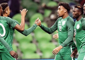 The Super Eagles celebrating a goal against Argentina in a recent friendly match in Russia. Nigeria will meet Poland in another tune up game…in March, 2018. PHOTO: AFP.