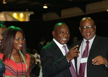 Ramaphosa, middle, during the ANC Convention