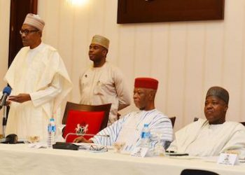 President Mohammadu Buhari adressing party leaders at APC meeting on Monday evening