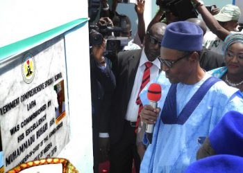 President Buhari commissioning a school in Nassarawa during his official visit to the state, Photo ; NAN