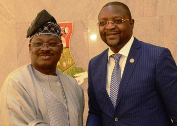 L-R: Oyo State Governor, Senator Abiola Ajimobi; and Executive Commissioner, Stakeholders' Management, Nigerian Communications Commission, Mr. Sunday Dare, during his visit to the governor, in his office, in Ibadan... on Tuesday. Photo: Governor's Office