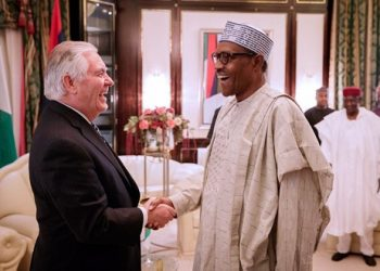 Rex Tillerson exhanging pleasantries with President Buhari during  his official visit to president Buhari  at Presidential Villa  Aso Rock  on Monday