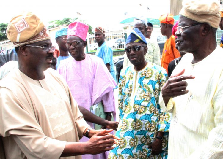 L-R: Oyo State Governor, Senator Abiola Ajimobi; Elder Dayo Adeola; a former state Commissioner for Information, Chief Timothy Jolaoso; and state Chairman of the All Progressives Congress, Chief Akin Oke, during a visit by leaders of the APC in Ibarapa land to the governor, at the Governor's Office, Ibadan... on Monday. Photo: Governor's Office