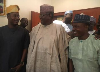 Taye Akande Adebisi, currency with Ex.Gov Sule Lamido and a Presidential Aspirant with the scion of Adebisi dynasty and Oyo House of Assembly aspirant Comrade Yusuf Adebisi during a courtesy call to Lamido in Kano