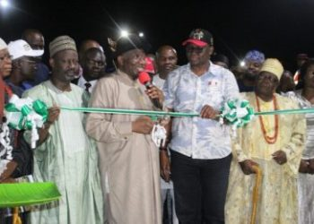 Former President Good luck Ebele Jonathan Flanked by Governor Ayo Fayose and other dignitaries at the official  commissioning of flyover constructed by Ayo Fayose