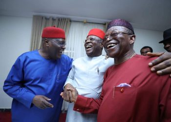 ormer Vice President and frontline presidential hopeful of the Peoples Democratic Party, Atiku Abubakar, in a convivial exchange of greetings with the Governor of Ebonyi State, David Umahi and Senator Fidelis Okoro at the Ebonyi Government House, Abakaliki when Atiku visited the state on Tuesday in continuation of his nationwide consultations with PDP stakeholders.