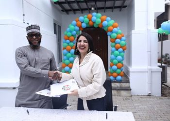 Adamu Atiku Abubakar and Dr Reem Osman at the signing  of MoU partnership  between West Africa Healthcare Services of Nigeria founded by former Vice President Atiku Abubakar and  the Saaudi German Hospital for the Saudi referral hospital in Abuja at the weekend