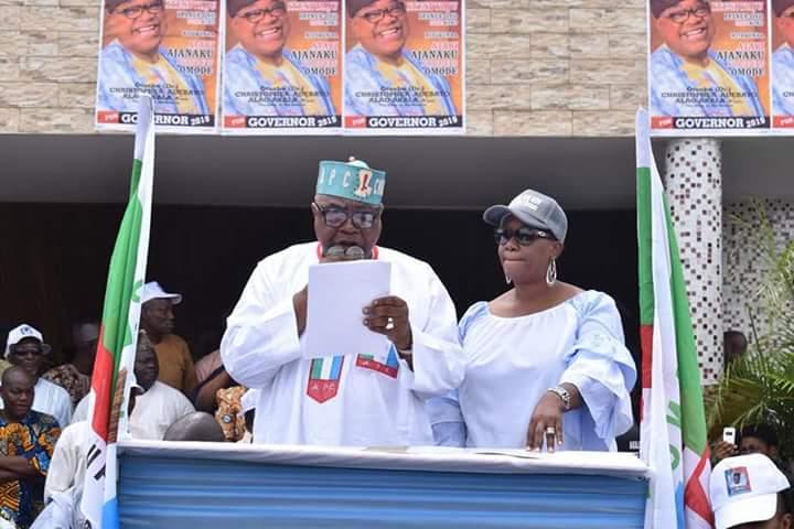 Otunba Alao Akala and Chief Mrs Akala at the declaration