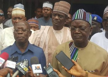 Samuel Ortom and Adams Oshiomole after the meeting in Abuja