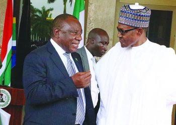 Nigerian President Muhammadu Buhari, and South African President Cyril Ramphosa