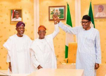 President Muhamadu Buhari , ogbeni Rauf Aregbesola  and Governor elect, Gboyega Oyetola