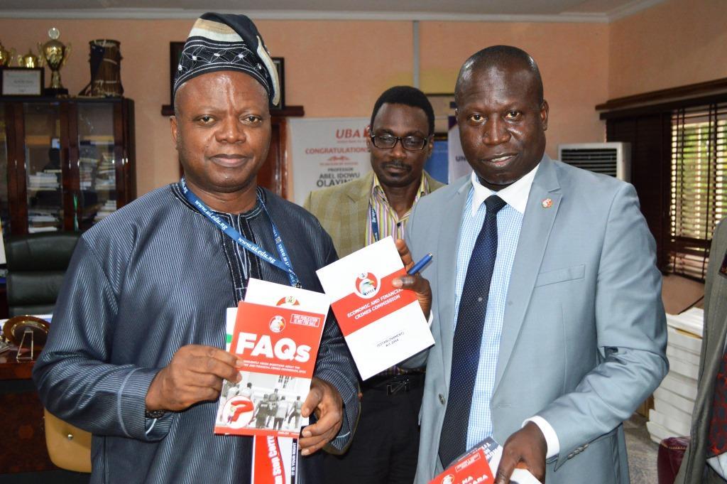 The Vice Chancellor of the university, Prof. Abel Idowu Olayinka withz onal Bead of the EFCC's Ibadan  Friday Ebelo