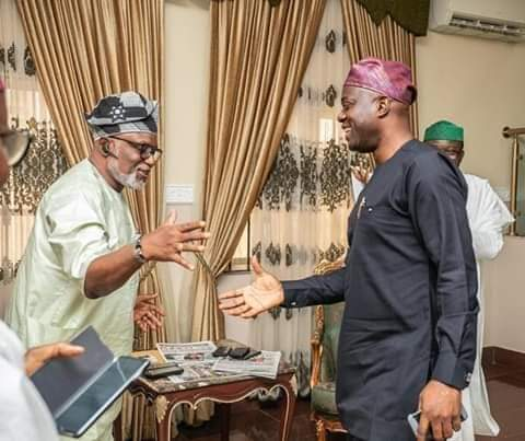 Oyo State Governor, Engineer Seyi Makinde Congratulating   Arakunrin Rotimi Akeredolu of Ondo state on his emergence as South West Governor's forum