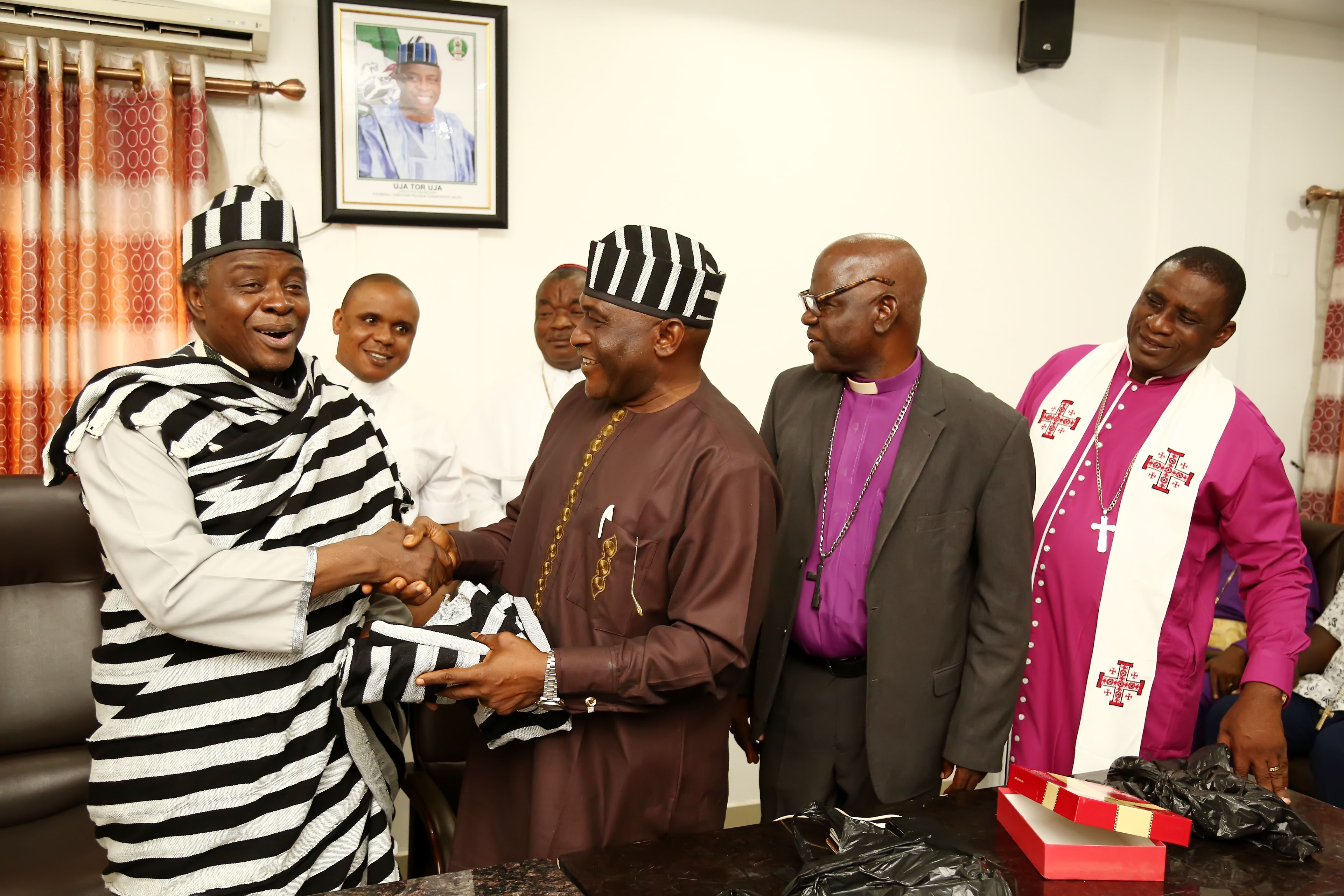 L/R: Executive Secretary, Nigeria Christian Pilgrim Commission (NCPC), Rev. Uja Tor Uja; Secretary, Benue Christian and Church Leaders consultative Forum, Rev. Gideon Shagba; Chairman, Benue Christian and Church Leaders consultative Forum, the Bishop of Anglican Church Makurdi Diocese, Bishop Nathan Inyom and the Archbishop. Benjamin Kurudu of Firm Foundation Ministry Internationa Makurdi during a courtesy visit by the members of the Christian forum, Benue State to the Exe. Sec. NCPC at the Commission's Corporate Headquarters in Abuja.