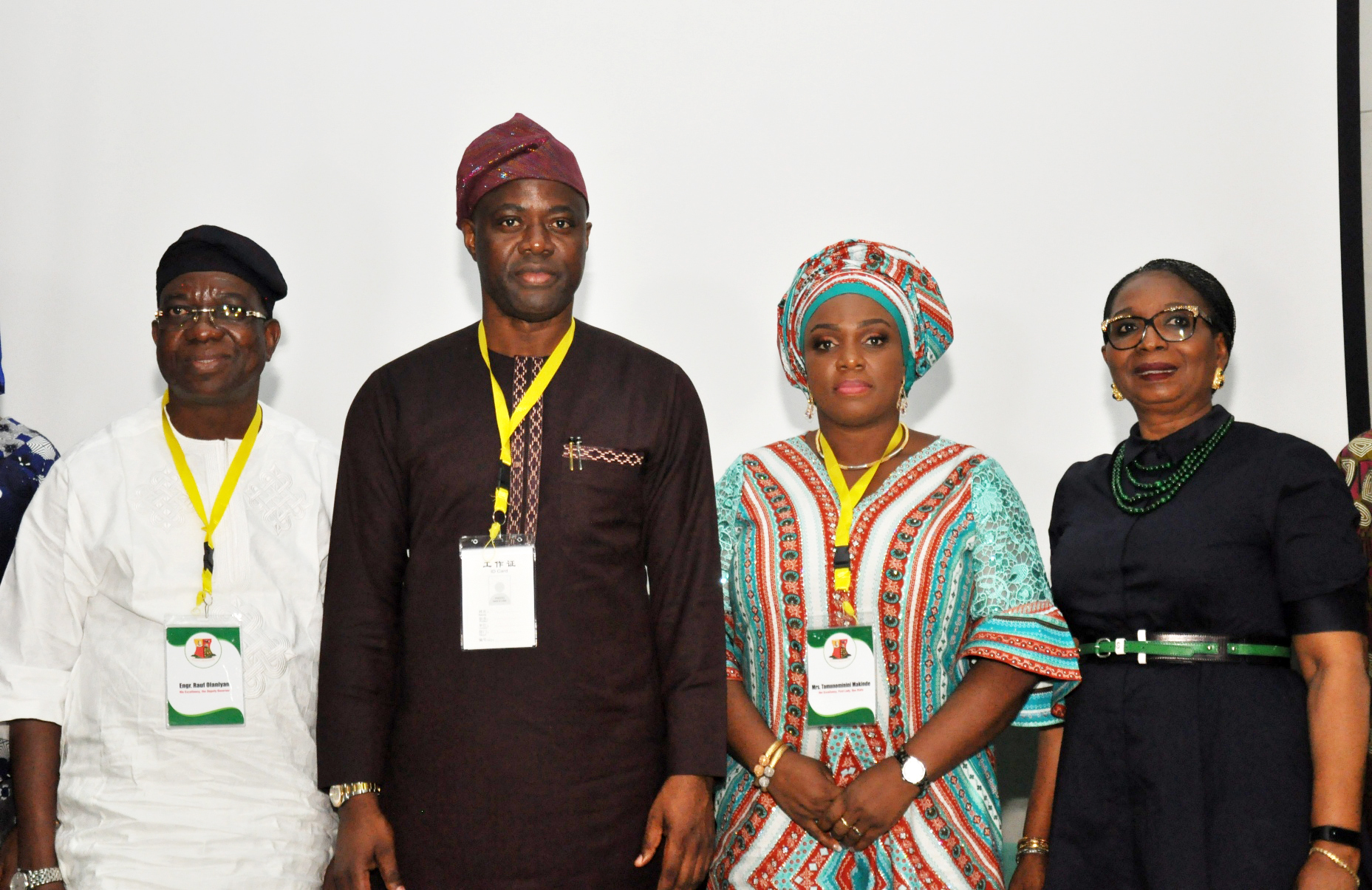 Retreat 2: Oyo State Governor, Engr Seyi Makinde (middle) his wife, Tamunominini (second left); Deputy Governor, Engr Rauf Olaniyan (second left) his wife, Bolanle (left) and guest speaker and Chairperson, First Bank of Nigeria, Dr (Mrs) Ibukun Awosika during the Oyo State Executive Retreat held at IITA, Ibadan. PHOTO: Oyo State Government.