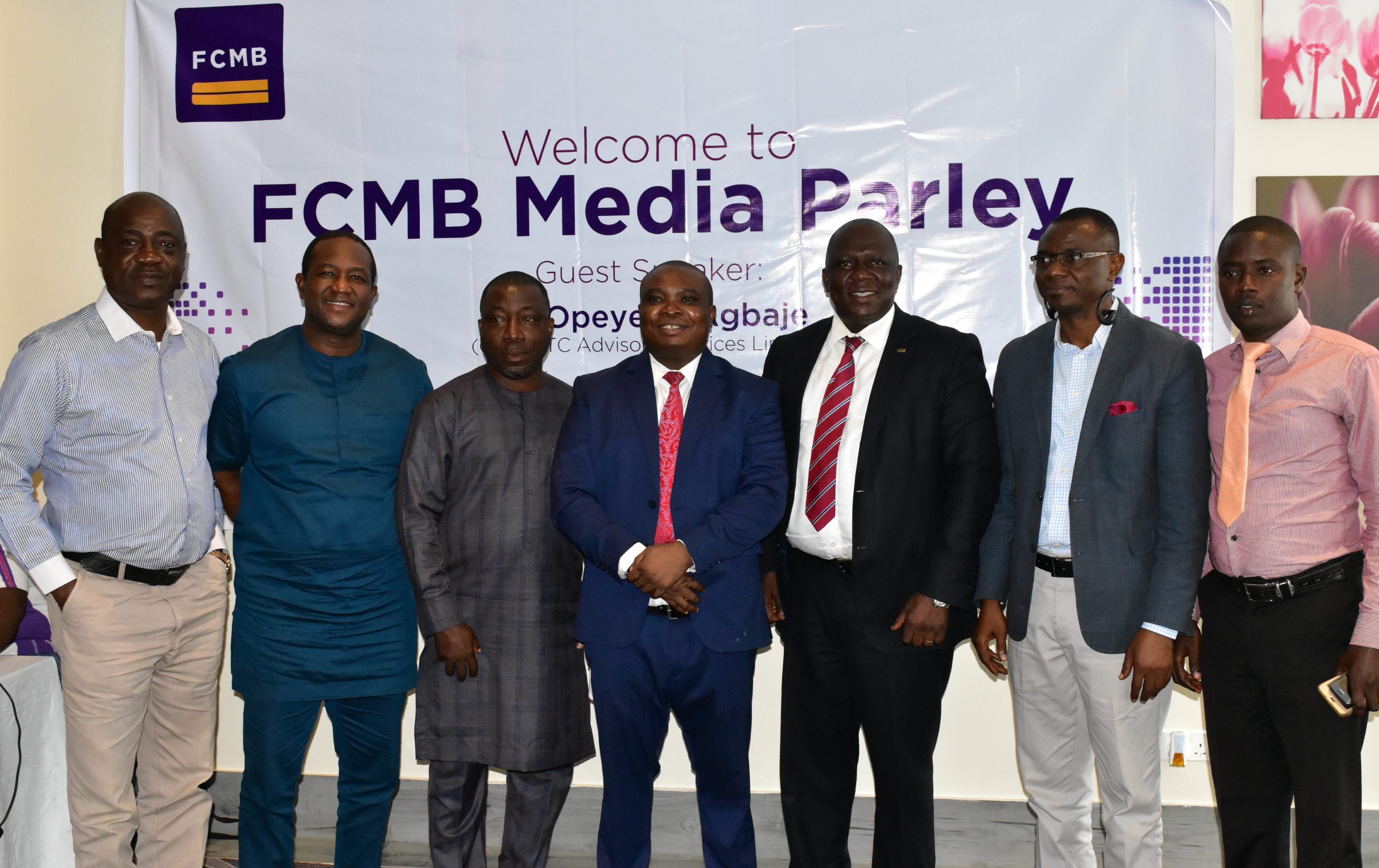 From left: Bureau Chief, South-west, Guardian Newspaper, Mr. Muyiwa Adeyemi; Group Head, Corporate Affairs, First City Monument Bank (FCMB), Mr. Diran Olojo; Bureau Chief, Ibadan, AIT, Mr. Femi Amusan; Guest Speaker, Dr. Vincent Nwani; Regional Head, South-west, FCMB, Mr. Adelaja Adeleye; Bureau Chief, South-west, The Nation Newspaper, Mr. Bisi Oladele and South-west Zonal Secretary, Nigeria Union of Journalists, Mr. Bamigbola Gbolagunte, during a Media Parley and capacity building programme by the Bank for Journalists on August 29, 2019 in Ibadan, Oyo State.