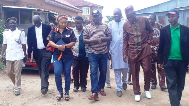 The State Commissioner for Environment and Natural Resources, Hon Kehinde Ayoola and some ministry officials during a visitation to one of the recycling plant in Ibadan
