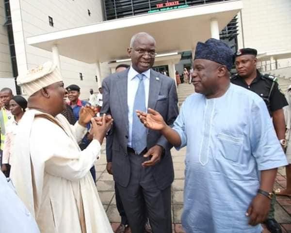 Senator Buhari and Minister of Works Babatunde Fashola