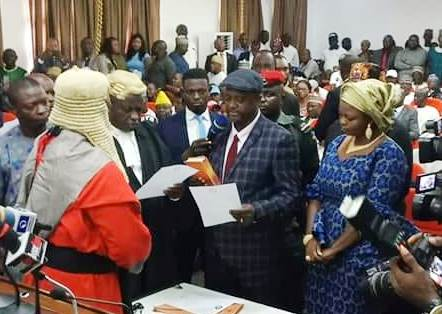 New Kogi state Deputy Governor and his wife taking oath of office