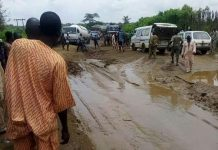 the bad portion of iseyin-Oyo road, in Oke Ogun area of Oyo state