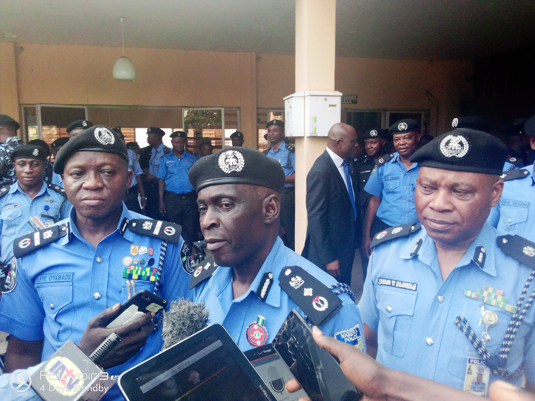 AIG leye Oyebade, DIG  Peter Babatunde and  state commissioner of Police, Shina Olukolu