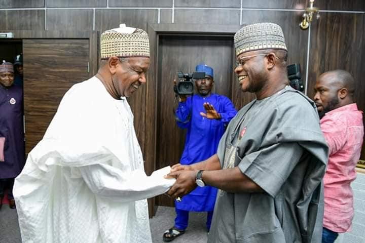 Receives Progressives Governors' Forum Chairman, Senator Atiku Bagudu with Gov Yaya Bello
