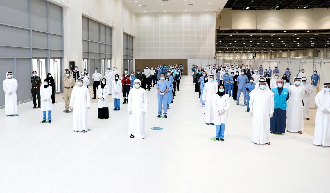 Sheikh Hamdan bin Mohammed, Crown Prince of Dubai, visits the field hospital at the Dubai World Trade Centre. Photo credit The National https://www.thenational.ae/
