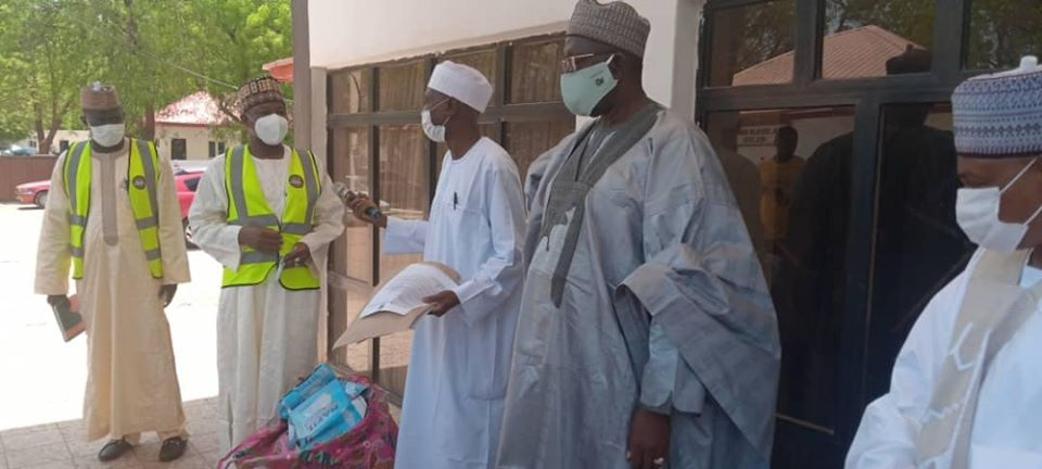 Sir Ahmadu Bello Memorial Foundation, present nose masks to Kebbi State Government.