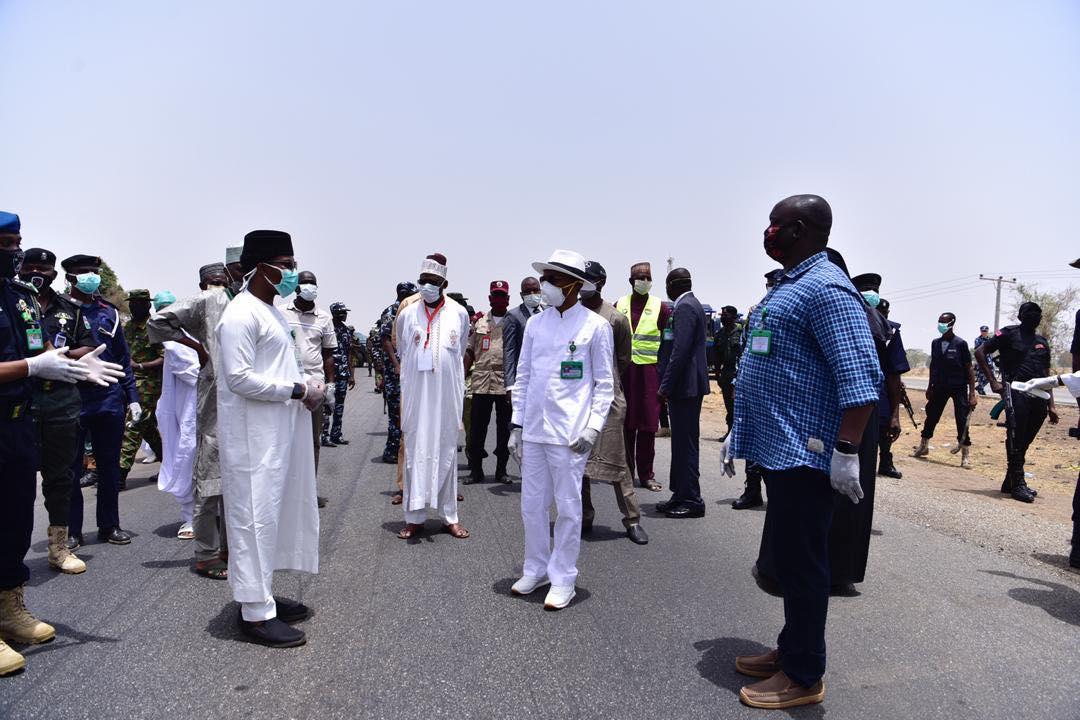 Kaduna state governor Nasir El Rufai at the border of the state