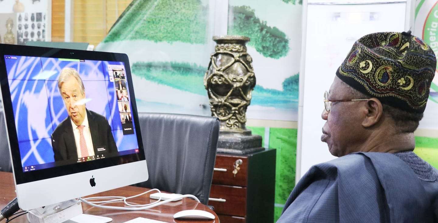 The Minister of Information and Culture, Alhaji Lai Mohammed, while attending the 63rd Virtual Meeting of the UNWTO Regional Commission for Africa from his office in Abuja on Monday.