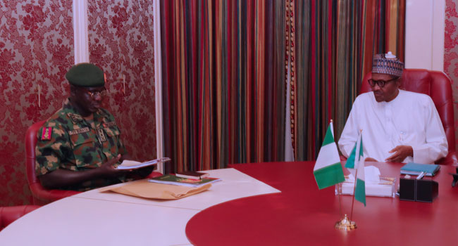 President Muhammadu Buhari meets with the Chief of Army Staff, Lieutenant General Tukur Buratai at the Presidential Villa in Abuja, the nation's capital.