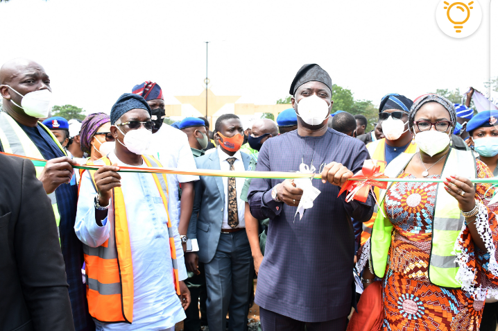 > 2: From right, Oyo State Governor, Engr Seyi Makinde; his deputy, Engr Rauf Olaniyan and Chief of Staff to the governor, Chief Bisi Ilaka during the Flag-Off of Light-Up Oyo State, Phase 2 and reconstruction of Under G to Stadium to Lautech 2nd gate road, Ogbomoso Area of Oyo State. PHOTO: Oyo State Government.