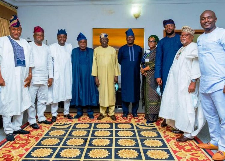 Asiwaju Bola Ahmed Tinubu with Members of Oyo  Caucus ,NASS